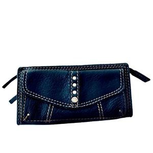 Lucky Brand Leather Wallet 3/4 zip Black with Pink